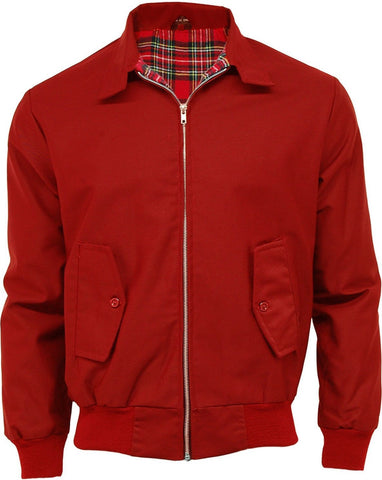 Harrington Jacket Red With Tartan Lining Relco