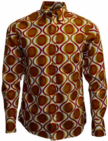 Shirt Men's Geometric Psychedelic Long Sleeve Gold Red  - Run & Fly