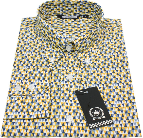 Shirt Mustard Black Grey Geometric  by Relco