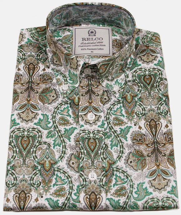 Mens Shirt Green Gold Paisley Button Down Collar - Relco Luxury Platinum