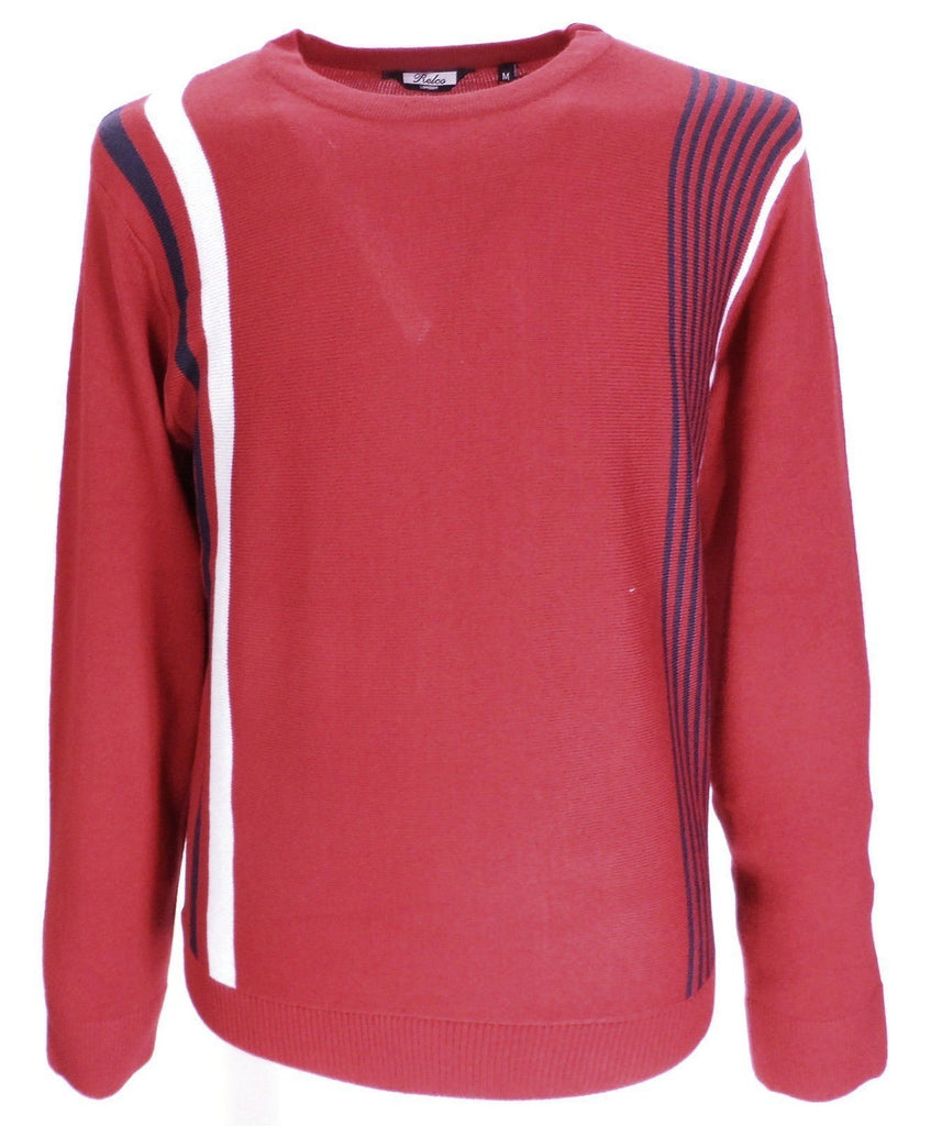 Jumper 60s Pop Art Racing Red Stripe Fine Knit - CXLondon.Com