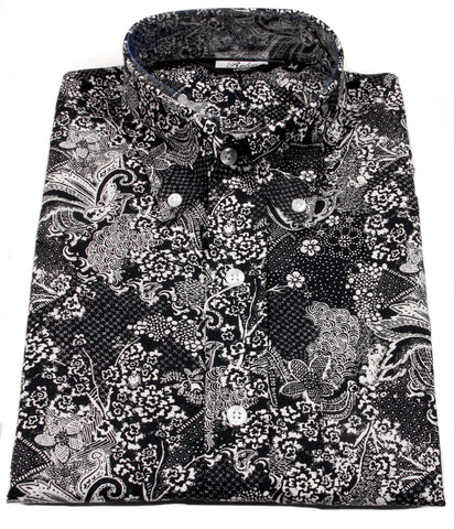 Mens Shirt Black White Floral Paisley Pindot  Button Down Collar - Relco