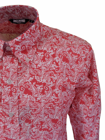 Mens Shirt Rosé Paisley Button Down Collar - Relco