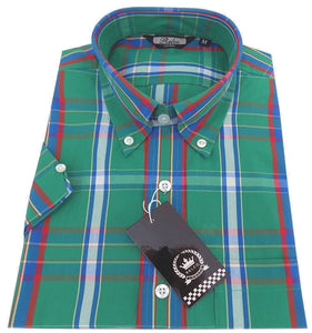 Shirt Green Blue Red Tartan Check Men's Short Sleeve Relco