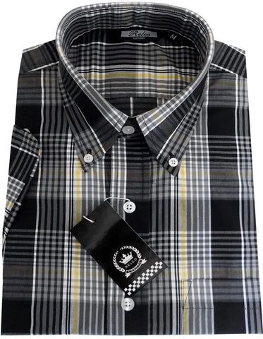 Mens Shirt Multi Black Grey Yellow Check Short Sleeve - Relco