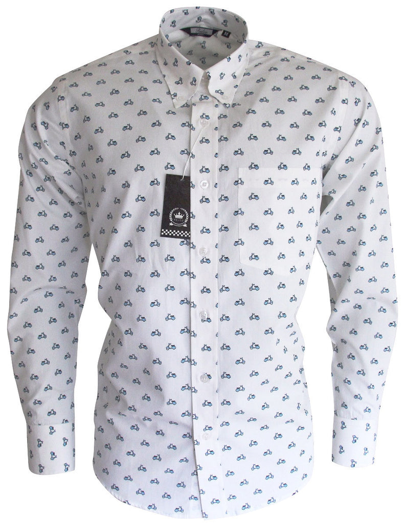 Mens Blue White Scooter Pattern Button Down Shirt - Relco
