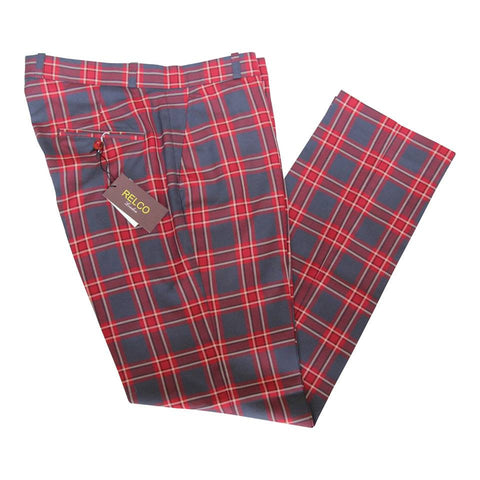 Red Grey Sta Press Trousers Tartan Check