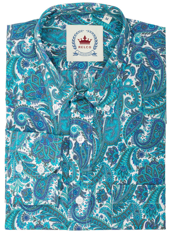 Mens Paisley Shirt Turquoise Button Down Collar - Relco