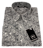 Mens Shirt White Dark Navy Paisley Button Down Collar - Relco - CXLondon.Com