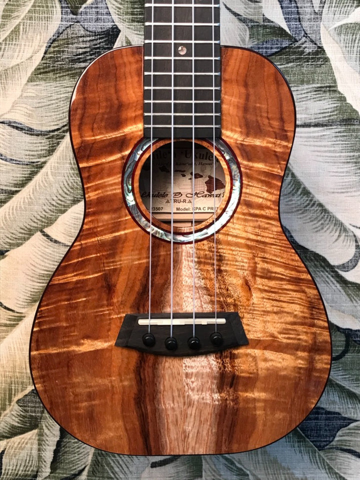 Kanile'a Curly Hawaiian Premium Koa Concert Ukulele with TRU-R Bracing and Case Model KPA-C PREM - Island Bazaar Ukes