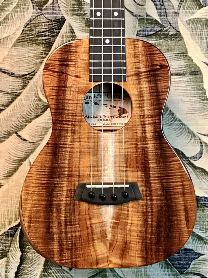 Kanile'a Hawaiian Premium Koa Tenor Ukulele with Slotted Headstock, TRU-R Bracing and Case Model KSR-T PREM - Island Bazaar Ukes