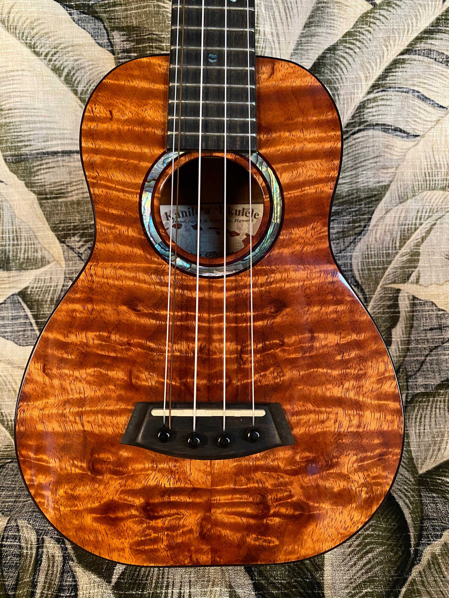 Kanile'a 5-String Hawaiian Curly Premium Koa Super-Concert Ukulele with TRU-R Bracing and Case Model KPA-C-SC PREM - Island Bazaar Ukes