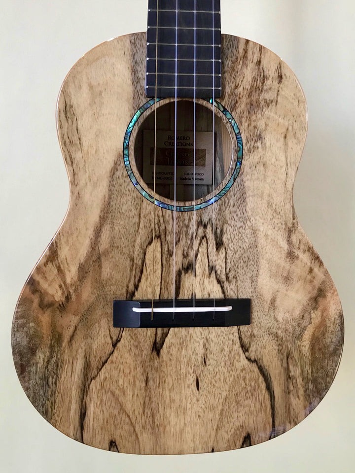 Newest Romero Creations Grand Tenor Spalted Maple Ukulele with Case - Island Bazaar Ukes