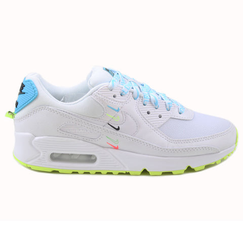 Nike Damen Sneaker Air Max 90 WW White/White-Blue Fury-Volt
