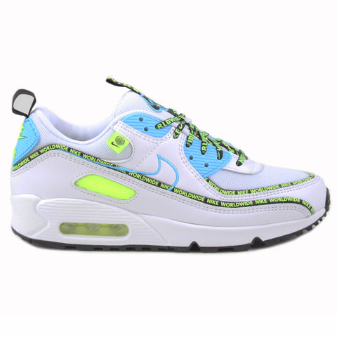 Nike Herren Sneaker Air Max 90 SE WW White/Blue Fury-Black-Volt