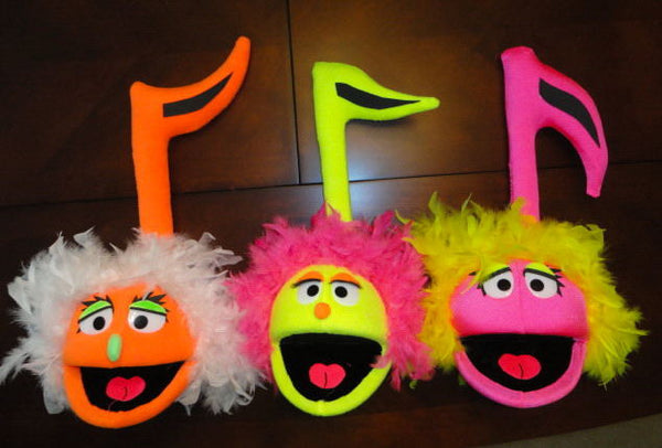 blacklight female music note puppets