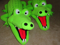 Blacklight alligator puppets