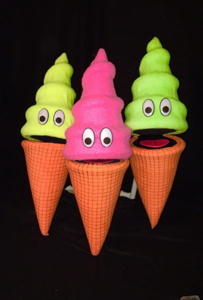 blacklight ice cream cone puppets