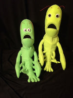blacklight lobster puppets yellow and green