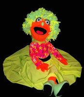 blacklight 50's style nancy puppet orange