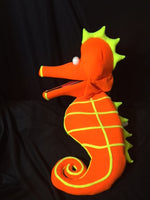 blacklight orange seahorse puppet