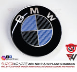 Black & Dark Blue Carbon Badge Emblem Overlay FOR BMW Sticker Vinyl 2 Quadrants covered in each colour FITS YOUR BMW'S Hood Trunk Rims Steering Wheel