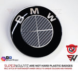 Full Dark Grey Anthracite Carbon Badge Emblem Overlay FOR BMW Sticker Vinyl 4 Quadrants covered FITS YOUR BMW'S Hood Trunk Rims Steering Wheel