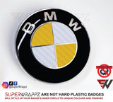 WHITE & YELLOW Carbon Badge Emblem Overlay FOR BMW Sticker Vinyl 2 Quadrants covered in each colour FITS YOUR BMW'S Hood Trunk Rims Steering Wheel