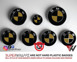 Black & Gold Gloss Badge Emblem Overlay FOR BMW Sticker Vinyl 2 Quadrants covered in each colour FITS YOUR BMW'S Hood Trunk Rims Steering Wheel