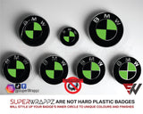 Black & Green Gloss Badge Emblem Overlay FOR BMW Sticker Vinyl 2 Quadrants covered in each colour FITS YOUR BMW'S Hood Trunk Rims Steering Wheel
