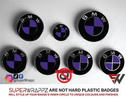 Black & Purple Gloss Badge Emblem Overlay FOR BMW Sticker Vinyl 2 Quadrants covered in each colour FITS YOUR BMW'S Hood Trunk Rims Steering Wheel