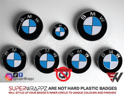 White & Blue Gloss Badge Emblem Overlay FOR BMW Sticker Vinyl 2 Quadrants covered in each colour FITS YOUR BMW'S Hood Trunk Rims Steering Wheel