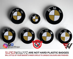 White & Gold Gloss Badge Emblem Overlay FOR BMW Sticker Vinyl 2 Quadrants covered in each colour FITS YOUR BMW'S Hood Trunk Rims Steering Wheel