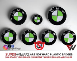 White & Green Gloss Badge Emblem Overlay FOR BMW Sticker Vinyl 2 Quadrants covered in each colour FITS YOUR BMW'S Hood Trunk Rims Steering Wheel