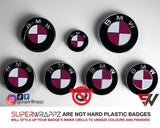 White & Pink Fuchsia Gloss Badge Emblem Overlay FOR BMW Sticker Vinyl 2 Quadrants covered in each colour FITS YOUR BMW'S Hood Trunk Rims Steering Wheel