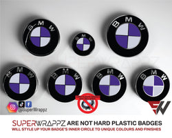 White & Purple Gloss Badge Emblem Overlay FOR BMW Sticker Vinyl 2 Quadrants covered in each colour FITS YOUR BMW'S Hood Trunk Rims Steering Wheel