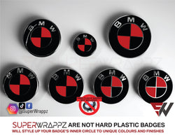 Black & Red Gloss Badge Emblem Overlay FOR BMW Sticker Vinyl 2 Quadrants covered in each colour FITS YOUR BMW'S Hood Trunk Rims Steering Wheel