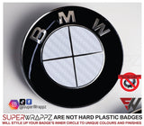 Full White Carbon Badge Emblem Overlay FOR BMW Sticker Vinyl 4 Quadrants covered FITS YOUR BMW'S Hood Trunk Rims Steering Wheel