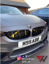 Black & Dark Grey Carbon Badge Emblem Overlay FOR BMW Sticker Vinyl 2 Quadrants covered in each colour FITS YOUR BMW'S Hood Trunk Rims Steering Wheel