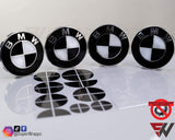 Black & White Gloss Badge Emblem Overlay FOR BMW Sticker Vinyl 2 Quadrants covered in each colour FITS YOUR BMW'S Hood Trunk Rims Steering Wheel