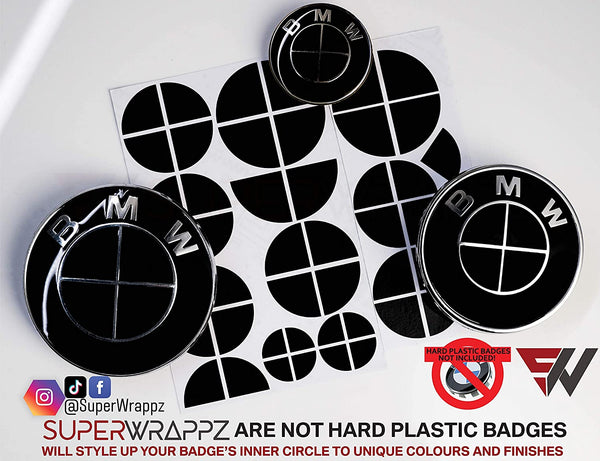 Full Black Gloss Badge Emblem Overlay FOR BMW Sticker Vinyl 4 Quadrants covered FITS YOUR BMW'S Hood Trunk Rims Steering Wheel