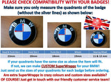 HALF BLACK GLOSS Badge Emblem Overlay FOR BMW Sticker VINYL 2 QUADRANTS COVERED FITS YOUR BMW'S HOOD TRUNK RIMS STEERING WHEEL