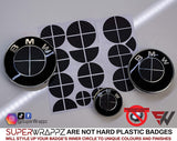 Full Black Carbon Badge Emblem Overlay FOR BMW Sticker Vinyl 4 Quadrants covered FITS YOUR BMW'S Hood Trunk Rims Steering Wheel