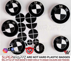 Black & White Carbon Badge Emblem Overlay FOR BMW Sticker Vinyl 2 Quadrants covered in each colour FITS YOUR BMW'S Hood Trunk Rims Steering Wheel