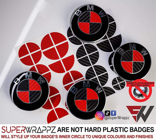 Black & Red Carbon Badge Emblem Overlay FOR BMW Sticker Vinyl 2 Quadrants covered in each colour FITS YOUR BMW'S Hood Trunk Rims Steering Wheel