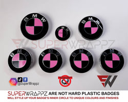 PINK & BLACK GLOSS Badge Emblem Overlay FOR BMW Sticker VINYL 4 QUADRANTS COVERED FITS YOUR BMW'S HOOD TRUNK RIMS STEERING WHEEL