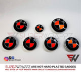 FLUORESCENT RED & BLACK GLOSS Badge Emblem Overlay FOR BMW Sticker VINYL 4 QUADRANTS COVERED FITS YOUR BMW'S HOOD TRUNK RIMS STEERING WHEEL