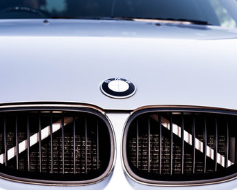WHITE Luminescent V BARS Overlay FOR BMW Vinyl FITS YOUR BMW'S V BRACES / CRASH BARS