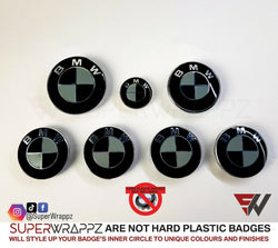 Black & Grey Gloss Badge Emblem Overlay FOR BMW Sticker Vinyl 2 Quadrants covered in each colour FITS YOUR BMW'S Hood Trunk Rims Steering Wheel