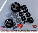 Black & Silver Gloss Badge Emblem Overlay FOR BMW Sticker Vinyl 2 Quadrants covered in each colour FITS YOUR BMW'S Hood Trunk Rims Steering Wheel